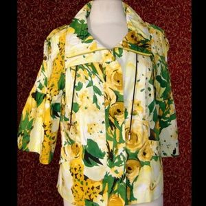 JUST B Artsy Yellow floral zip front jacket L